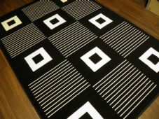 Modern Approx 8x5 160x230cm Woven Backed Black/ White Top Quality Squares Rugs